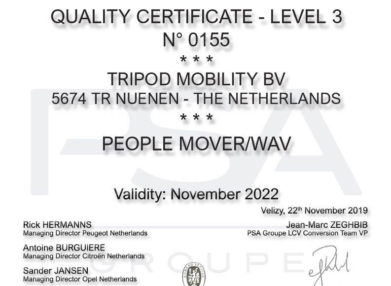 PSA Groupe certificaat!